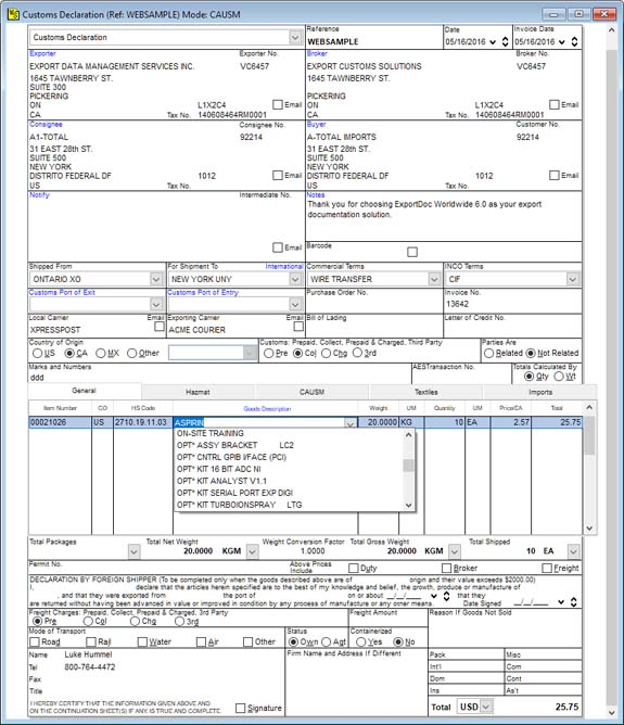 customs pro forma invoice